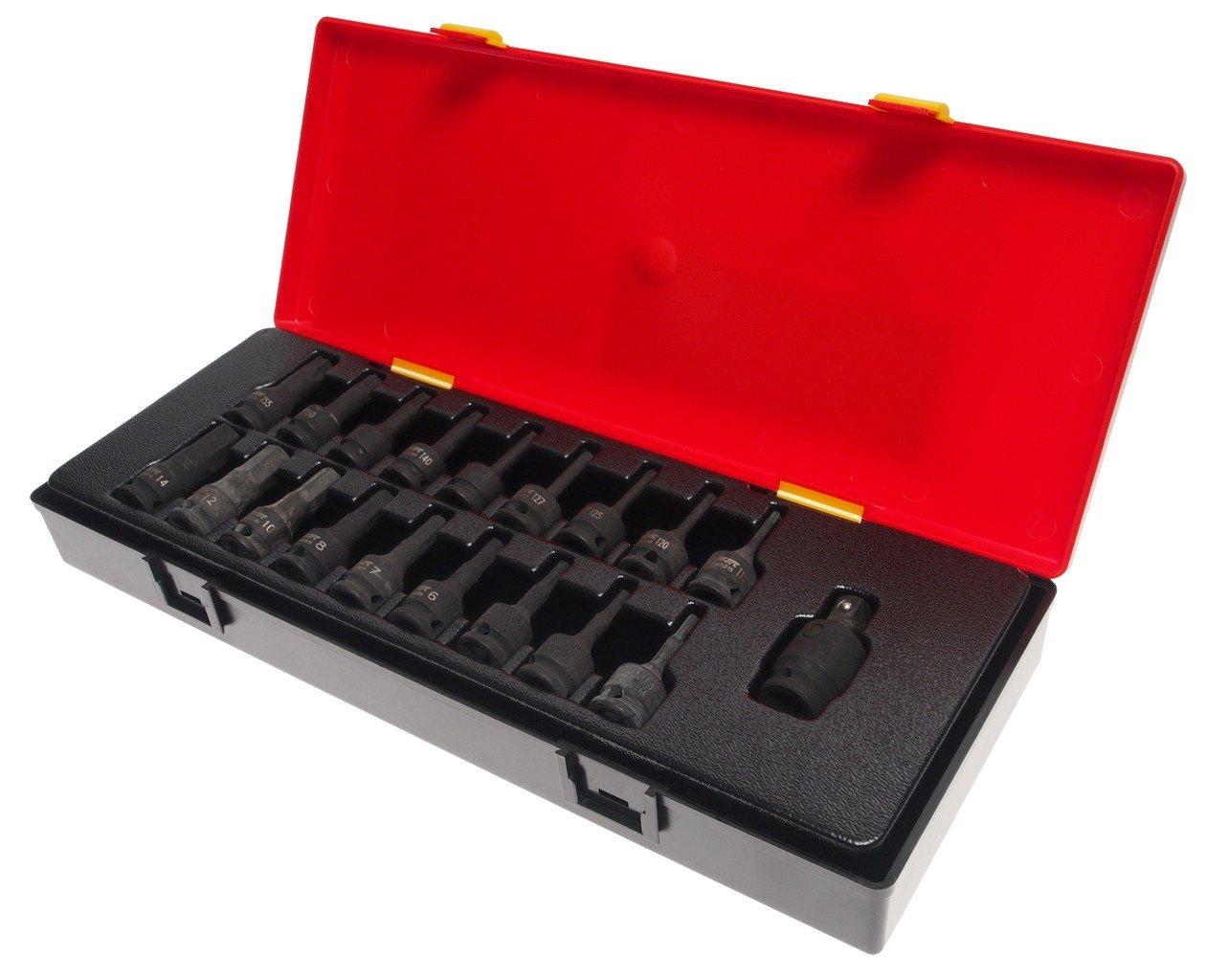JTC-K3191 Набор головок торцевых ударных 3/8″(в кейсе) 19 предметов