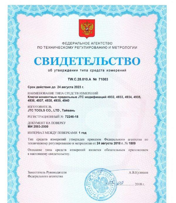 """JTC-4932 Ключ динамометрический 1/4"""" усилие затяжки 1-25Nm"""