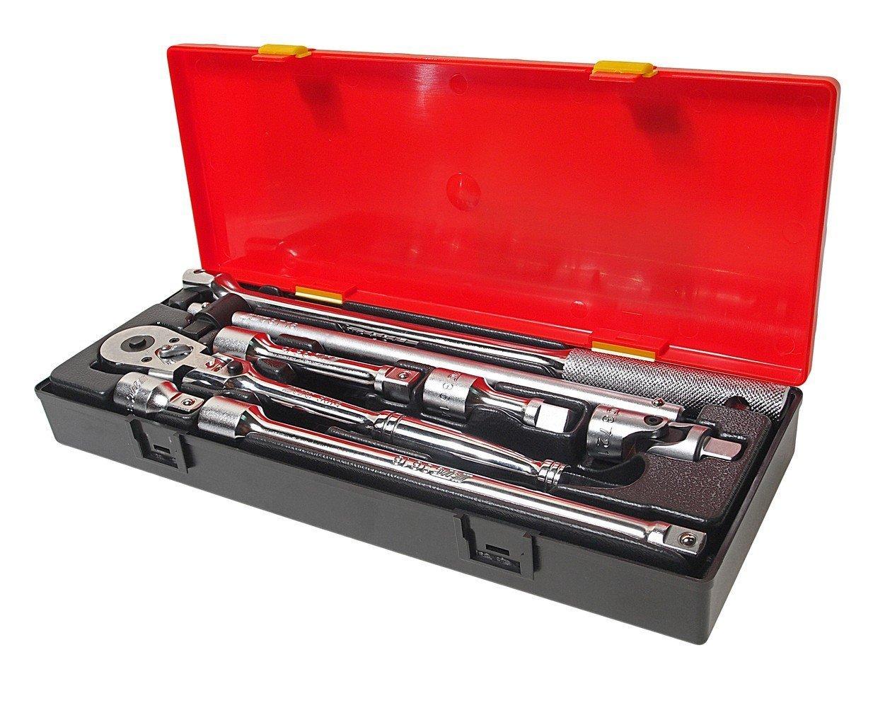 JTC-K4083 Набор инструментов 1/2″ (удлинители, воротки, трещотка на шарнире) в кейсе 8 пр.