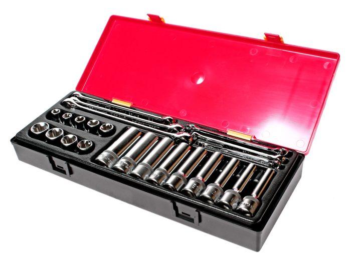 Набор инструментов TOPX (ключи Е6-Е24, головки Е10-Е24) в кейсе 24 пр.