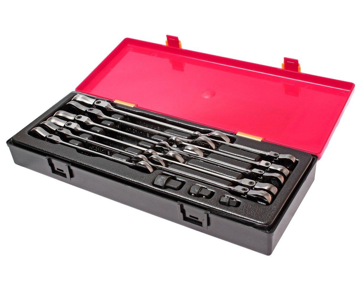 JTC-K6142 Набор ключей комбинированных трещоточных с подвижной головкой 8-19мм 14 пр