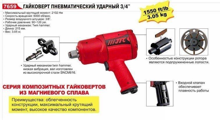 Пневмогайковерт ударный 3/4'' (2102 Nm) 90-120PSI 6000об/мин