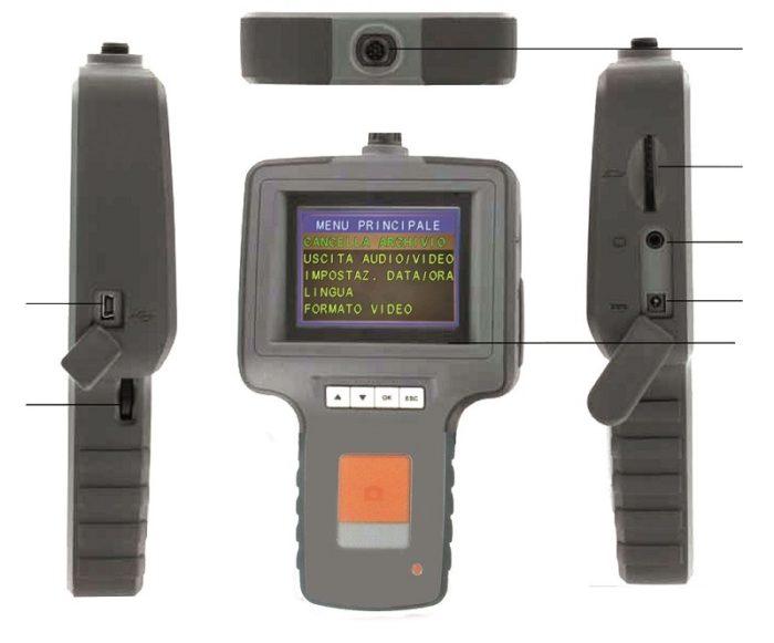 """Видеоскоп с гибким зондом ø 5,5 мм, дисплей TFT 3,5 """", длина зонда 1000 мм."""