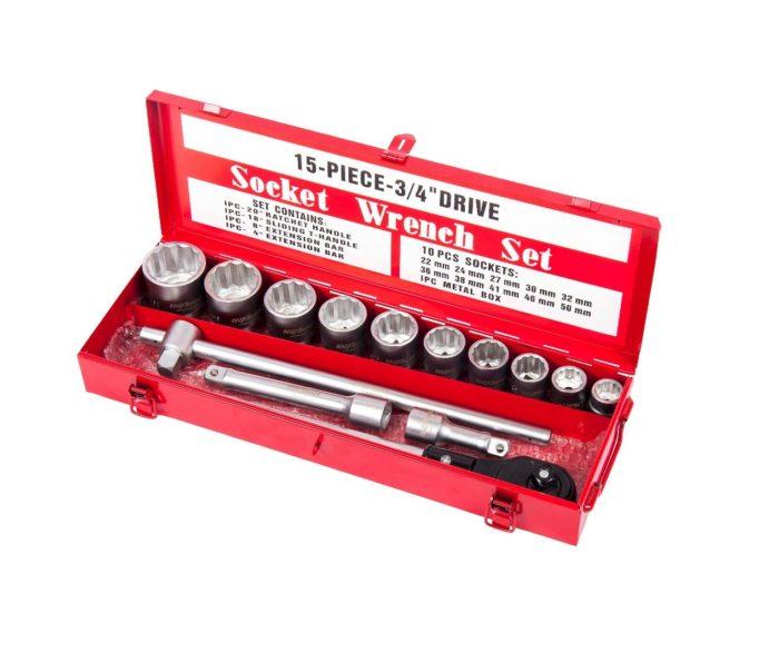 """Набор инструмента 15 предм. 3/4"""" профессион. в мет.кейсе 22-50 мм."""