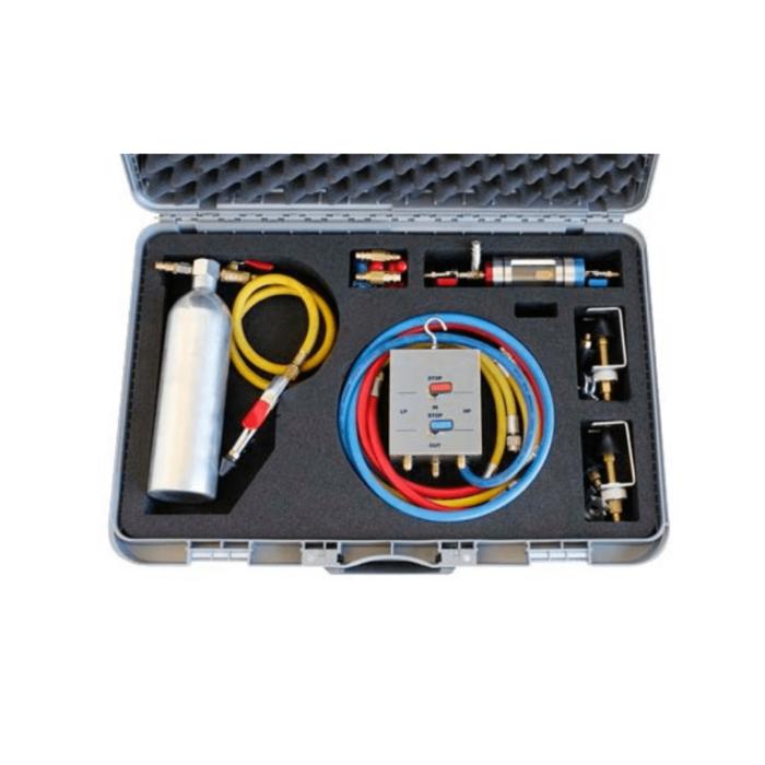 Набор для промывки систем кондиционирования с визуальным индикатором качества фреона и реверсом